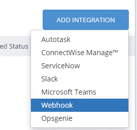 Select Webhook as the integration type