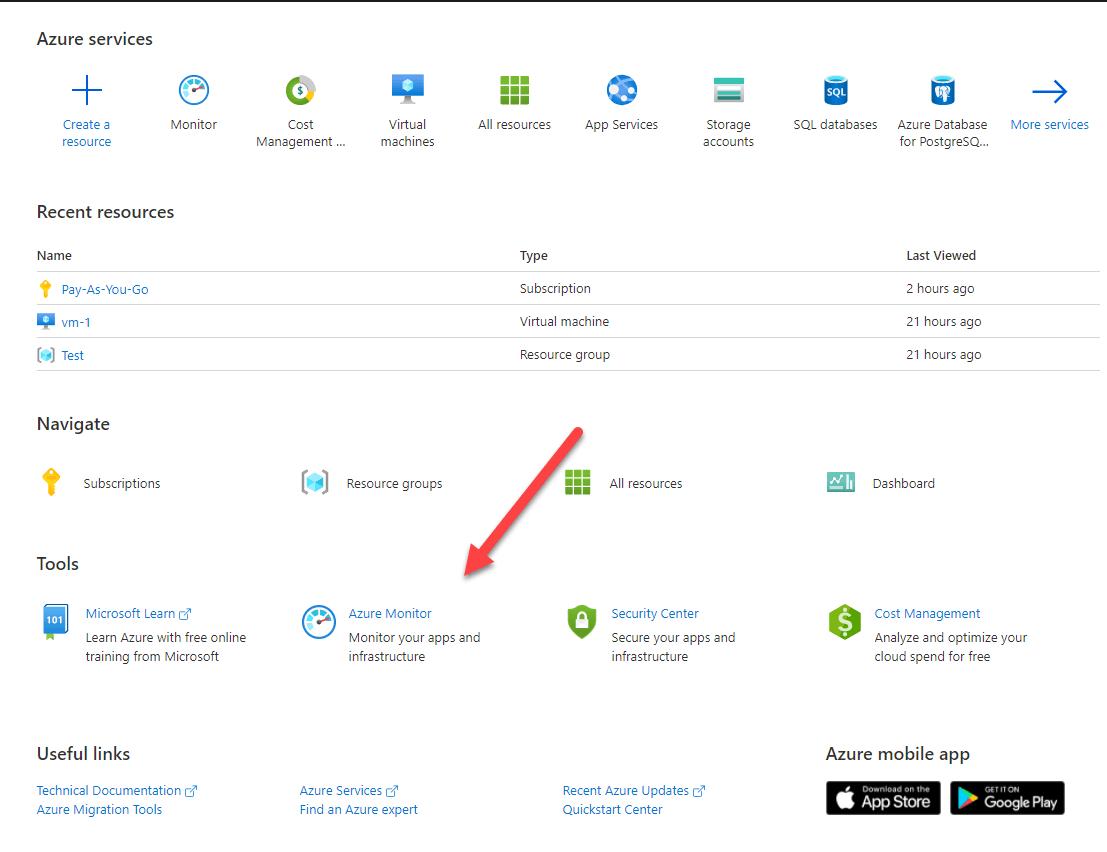 Click Azure Monitor