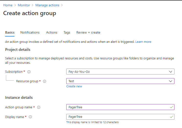 Create Action Group