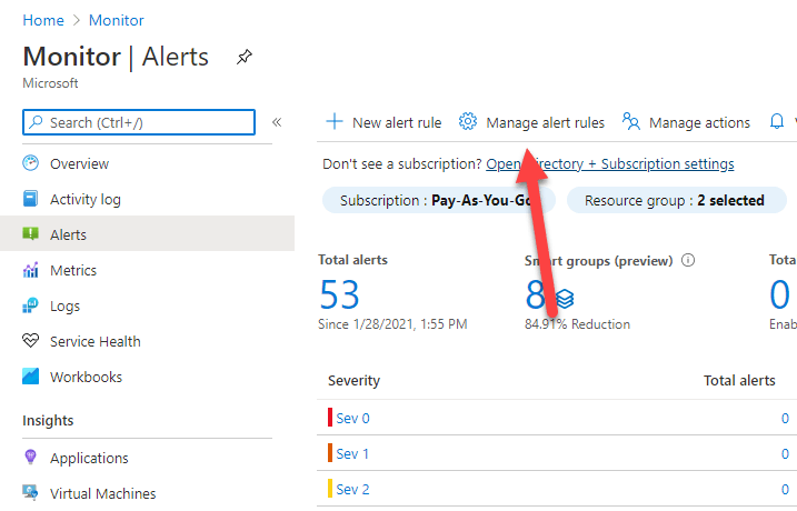 Click Manage alert rules tab