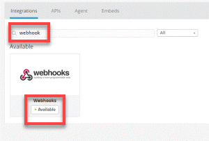 Search webhook