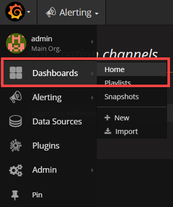 Click Menu -> Dashboards -> Home