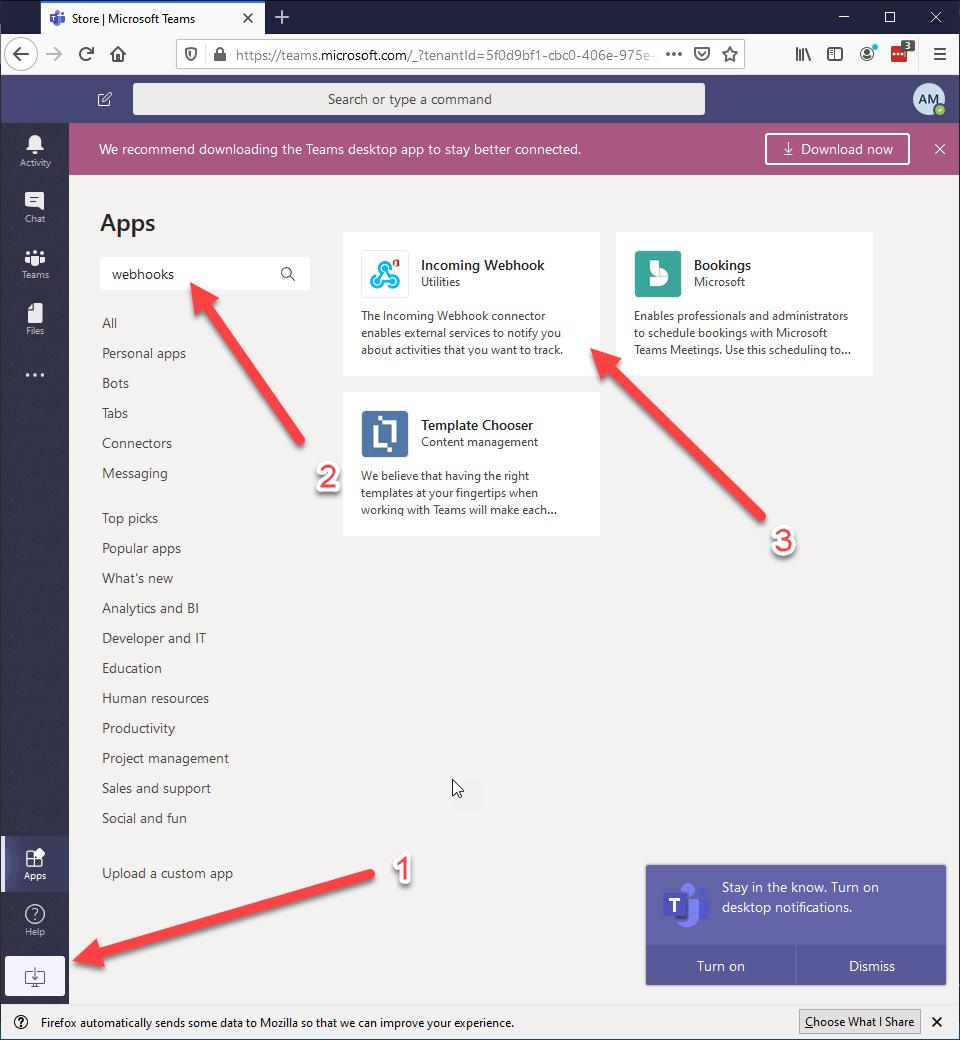 Create Incoming Webhook