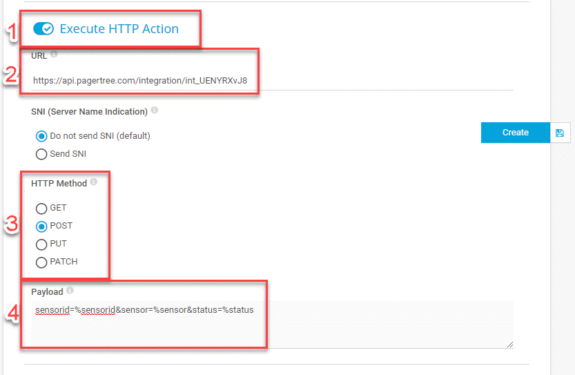 Notification Execute HTTP Action Settings