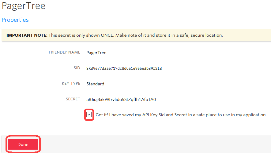 Acknowledge the API Key is safe
