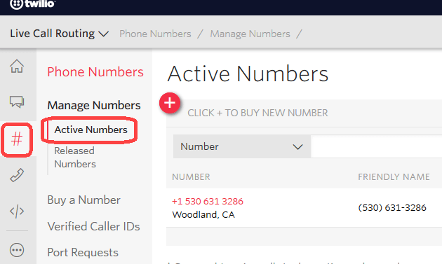 Navigate to Active Numbers