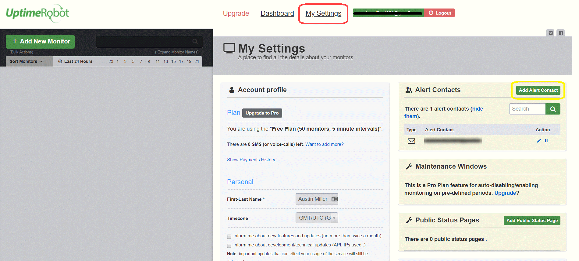 Click the Add Alert Contact Button