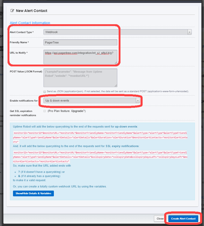 Create the Alert Contact