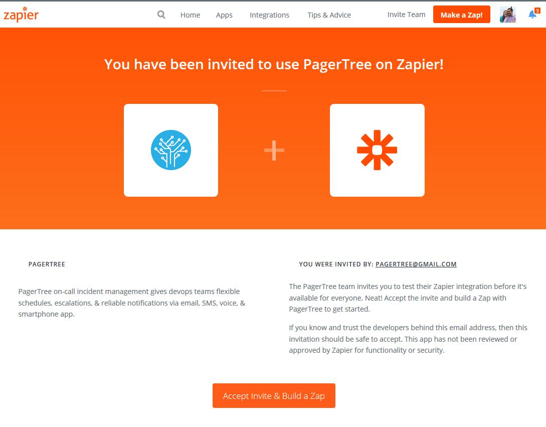Accept Invite & Build a Zap