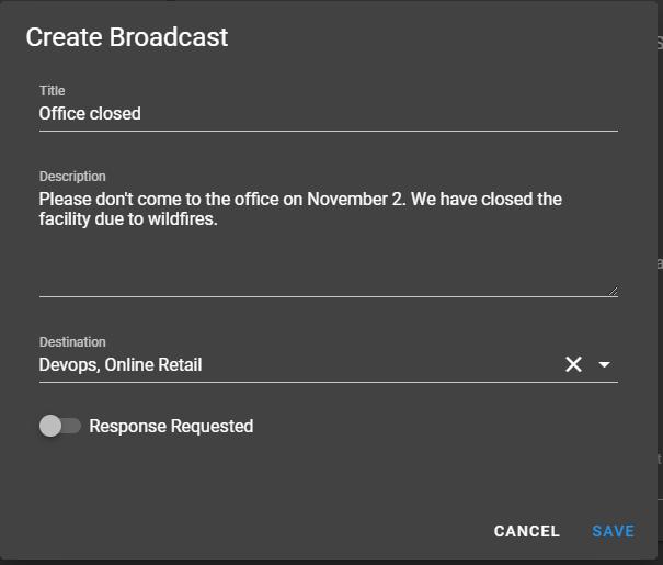 Create Broadcast Form