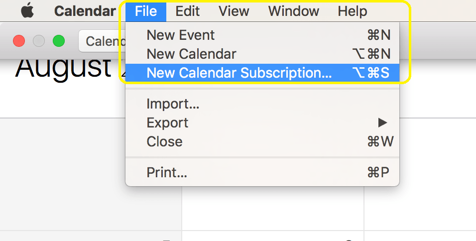 Click New Calendar Subscription