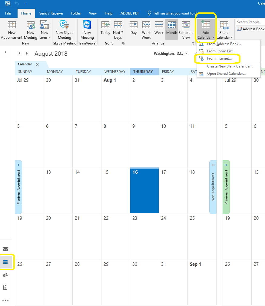 Click Add Calendar From Internet