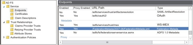 Locate the FederationMetadata URL in ADFS