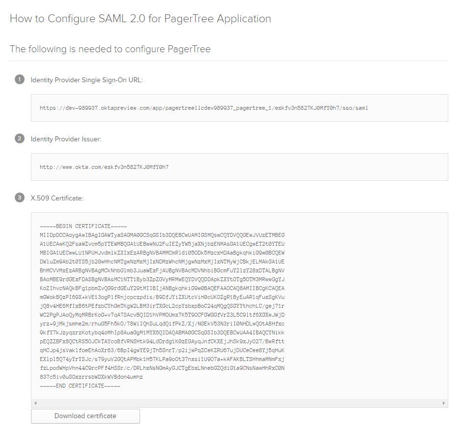 Okta SAML Parameters
