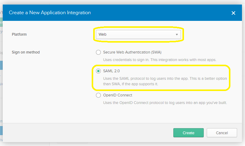 Select Web and SAML