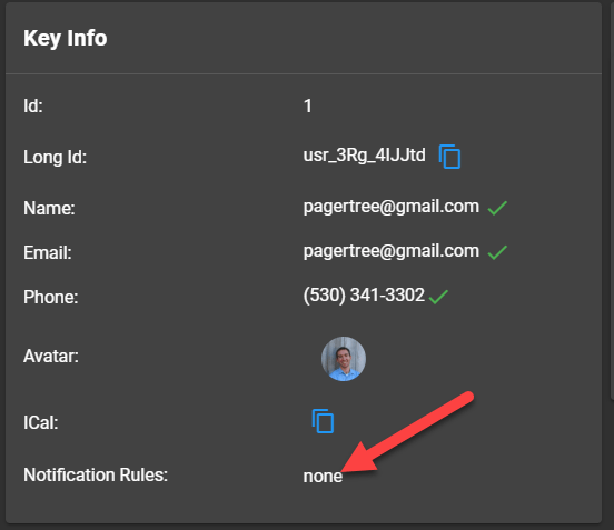 Click Notification Rules Section