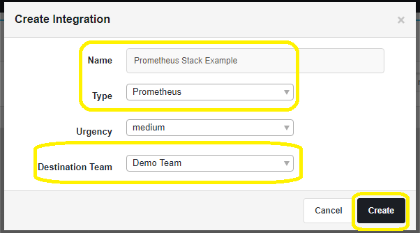 Create the PagerTree Prometheus Integration