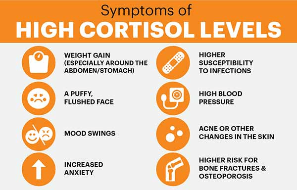 Symptoms of high cortisol levels infographic