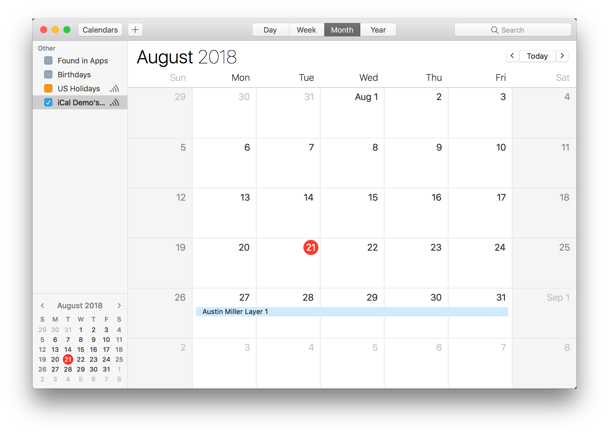 iCal Integration Screenshot