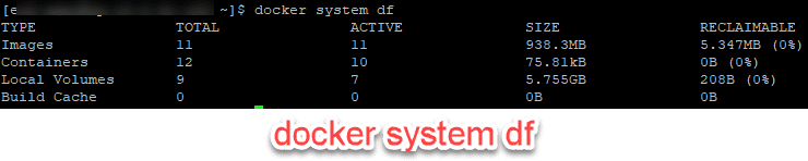 docker system df Example Output