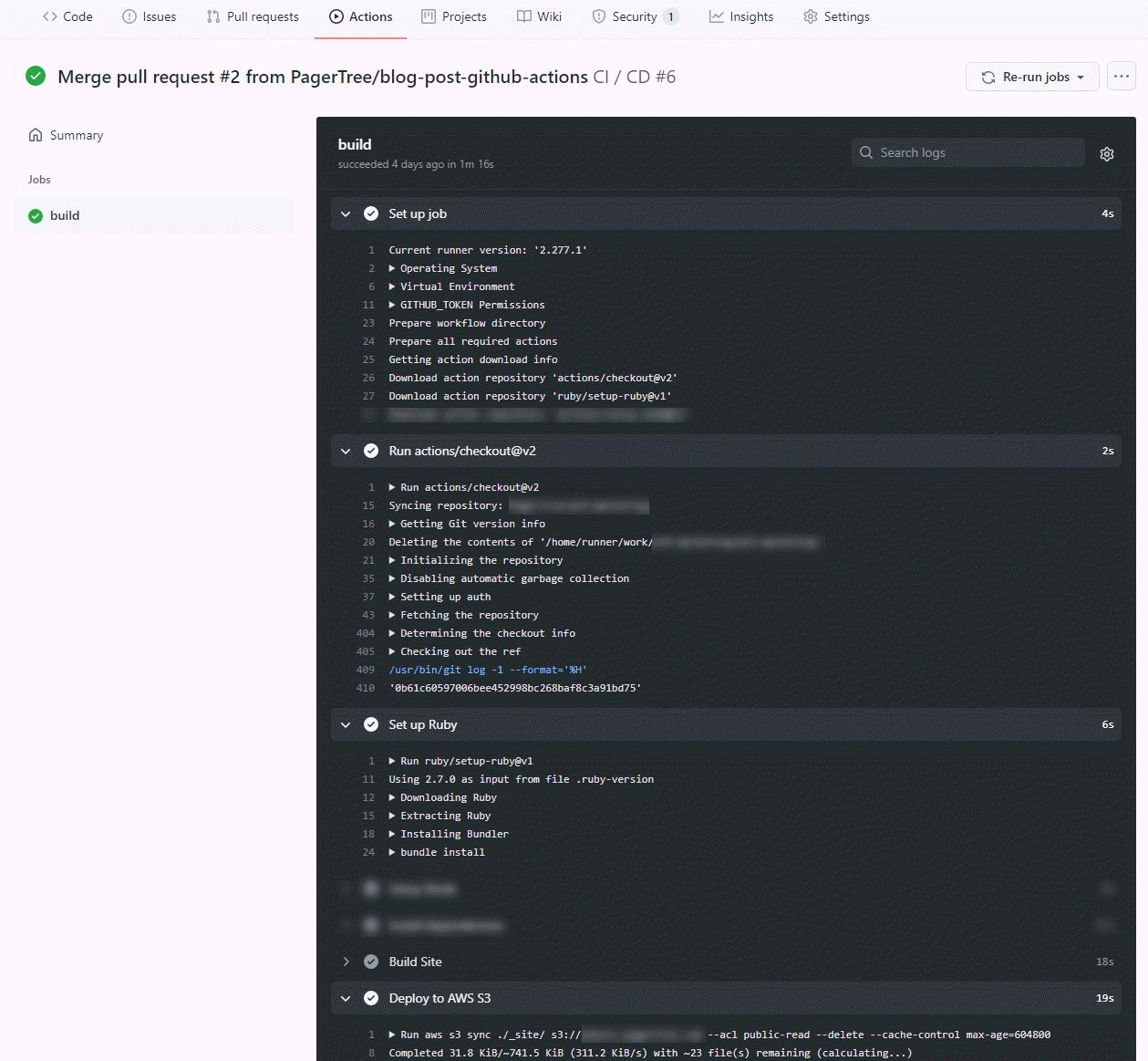 GitHub Action Run Details